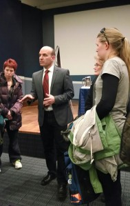 NDP MP Nathan Cullen answering questions about Enbridge Pipeline at UBC Robson Square. (PIC: Jonny Kidney)